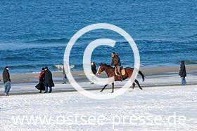 Ostsee Pressebild: Reiter am winterlichen Ostseestrand